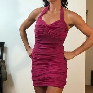 Pink salsa or cocktail dress! Mini dress - rouched